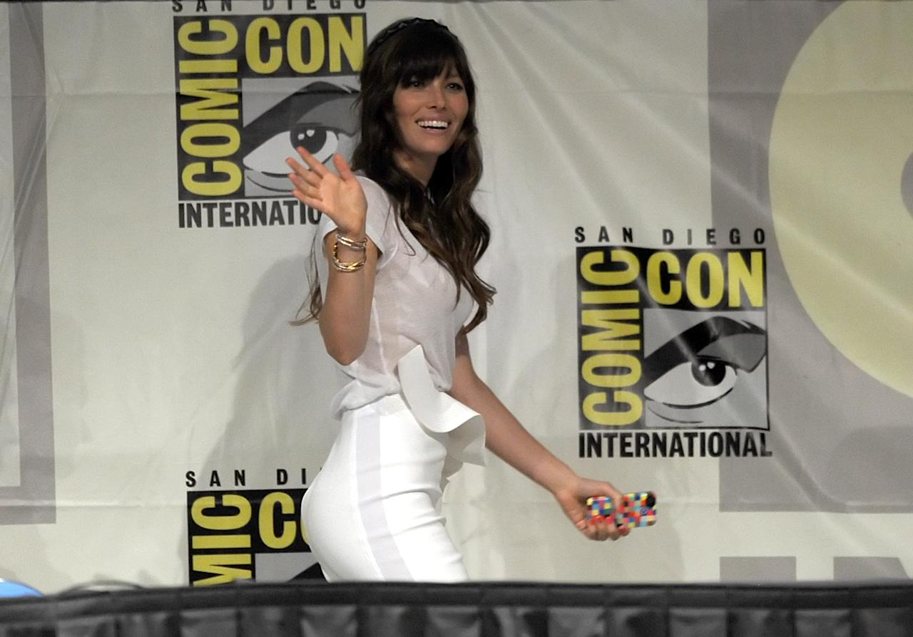 "SAN DIEGO, CA - JULY 13:  Actress Jessica Biel speaks during Sony's ""Total Recall"" panel during Comic-Con International 2012 at San Diego Convention Center on July 13, 2012 in San Diego, California.  (Photo by Kevin Winter/Getty Images)"