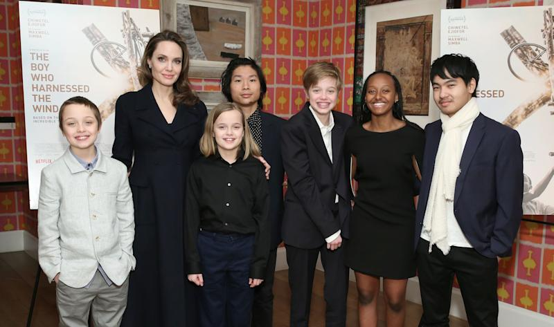 """NEW YORK, NEW YORK - FEBRUARY 25: Angelina Jolie with children Knox Leon Jolie-Pitt, Vivienne Marcheline Jolie-Pitt, Pax Thien Jolie-Pitt, Shiloh Nouvel Jolie-Pitt, Zahara Marley Jolie-Pitt and Maddox Chivan Jolie-Pitt attend """"The Boy Who Harnessed The Wind"""" Special Screening at Crosby Street Hotel on February 25, 2019 in New York City."""
