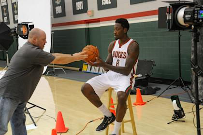 Larry Sanders gets reacquainted with a basketball. (USA TODAY Sports)