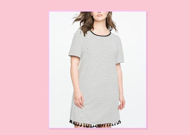 "<p>If shorts aren't your thing, have no fear! This Kimye-inspired trend is super-comfortable and easy to wear, and it comes in a range of hues and the occasional cutout rocker print. <br>Striped Tee Dress With Tassel Hem, $100, <a href=""http://www.eloquii.com/striped-tee-dress-with-tassel-hem/1234777.html?q=stripes&prefn1=sizeFamily&start=3&dwvar_1234777_colorCode=150&prefv1=18"" rel=""nofollow noopener"" target=""_blank"" data-ylk=""slk:Eloquii"" class=""link rapid-noclick-resp"">Eloquii</a> </p>"