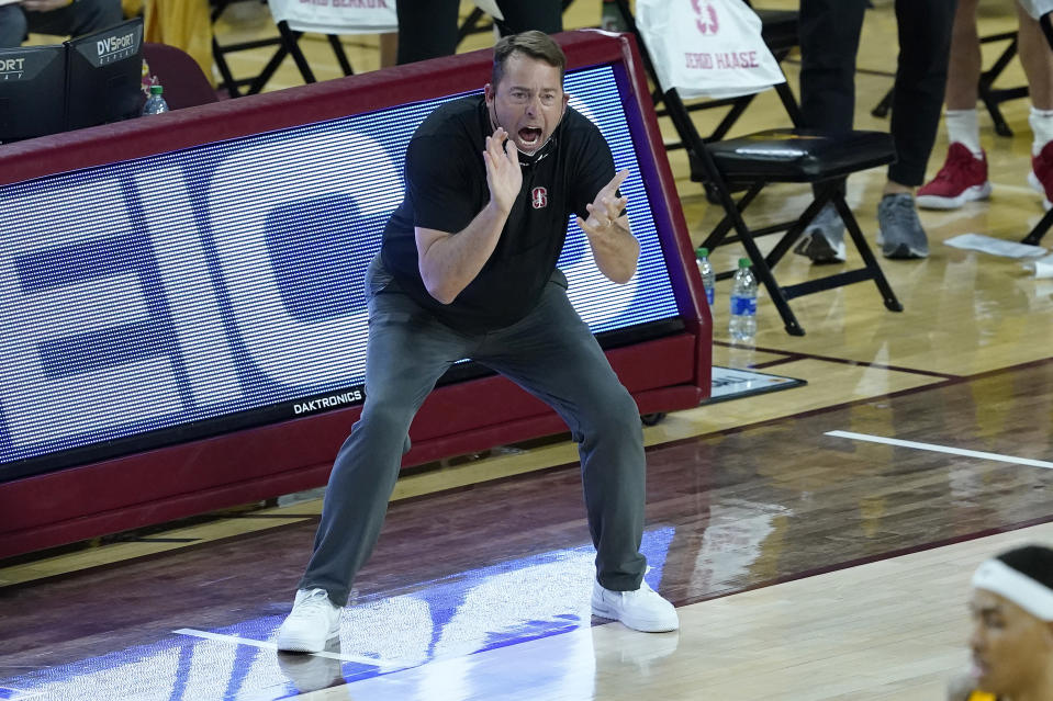 Stanford head coach Jerod Haase cheers during the second half of an NCAA college basketball game against Arizona State, Saturday, Jan. 30, 2021, in Tempe, Ariz. (AP Photo/Matt York)