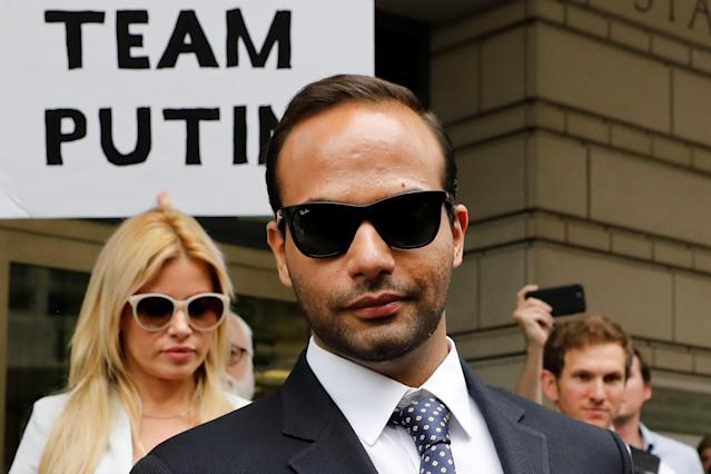 Former Trump campaign aide George Papadopoulos, with his wife Simona Mangiante, after his sentencing hearing at U.S. District Court in Washington. (Photo: Yuri Gripas/Reuters)