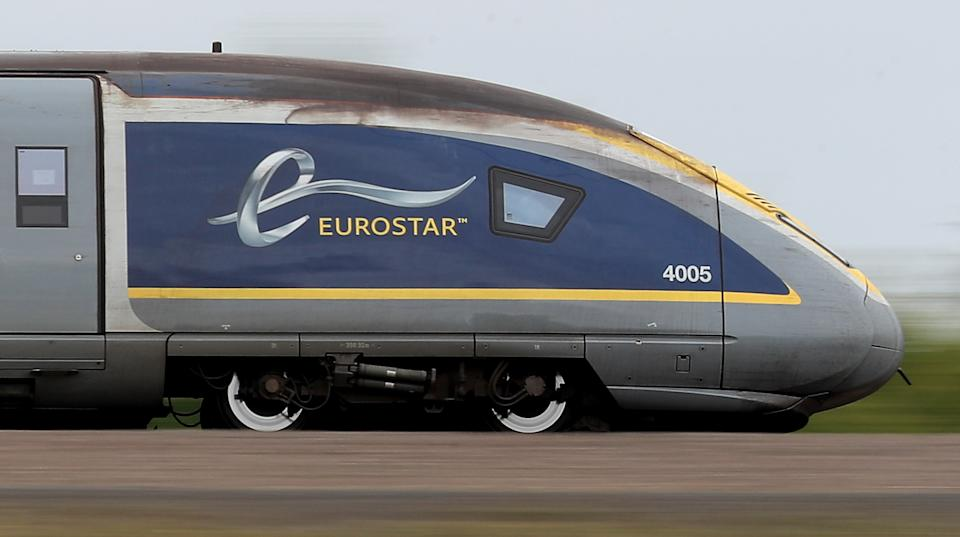 A Eurostar e320 train, the latest train the Eurostar fleet, passes through Ashford, Kent. (Photo by Gareth Fuller/PA Images via Getty Images)