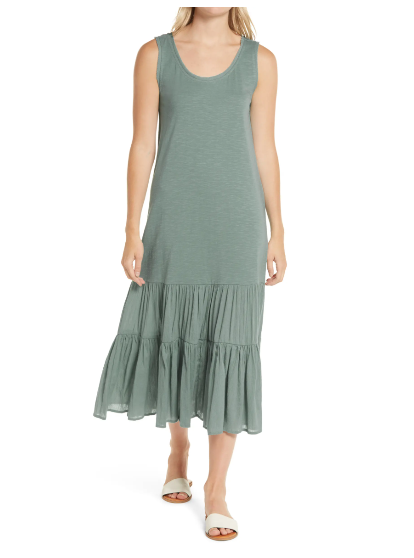 Caslon Mixed Media Drop Waist Maxi Dress. Image via Nordstrom.