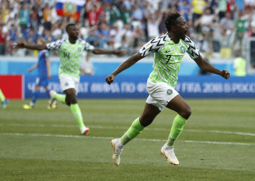 Nigeria's Ahmed Musa celebrates after scoring his team's first goal during the group D match between Nigeria and Iceland at the 2018 soccer World Cup in the Volgograd Arena in Volgograd, Russia, Friday, June 22, 2018. (AP Photo/Darko Vojinovic)