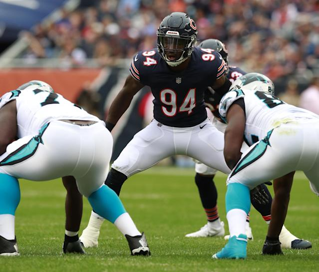 """<a class=""""link rapid-noclick-resp"""" href=""""/nfl/teams/chi/"""" data-ylk=""""slk:Chicago Bears"""">Chicago Bears</a> outside linebacker <a class=""""link rapid-noclick-resp"""" href=""""/nfl/players/29243/"""" data-ylk=""""slk:Leonard Floyd"""">Leonard Floyd</a> has notched four sacks over the last four weeks. (Jeff Haynes/AP Images for Panini)"""