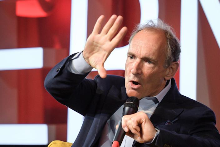 World Wide Web inventor Tim Berners-Lee attends an event to mark 30 years of the web in 2017 at the CERN in Meyrin near Geneva, Switzerland.
