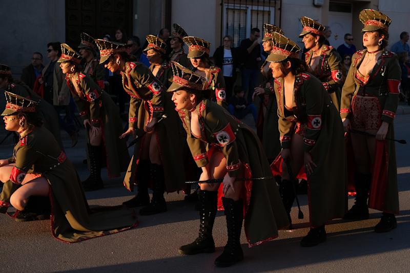 CAMPO DE CRIPTANA, SPAIN - FEBRUARY 24: Women dressed as nazi soldiers are seen in a Holocaust-themed parade during Carnival festivities on February 24, 2020 in Campo de Criptana, Spain. The Embassy of Israel in Spain denounced the display as trivializing the Holocaust. (Photo by Rey Sotolongo /Europa Press via Getty Images)