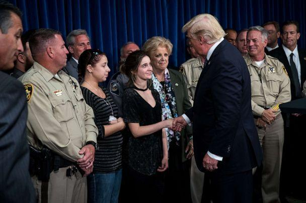 PHOTO: President Donald Trump greets police officers and family members after speaking at Las Vegas Metropolitan Police Department headquarters, Oct. 4, 2017, in Las Vegas (Drew Angerer/Getty Images, FILE)