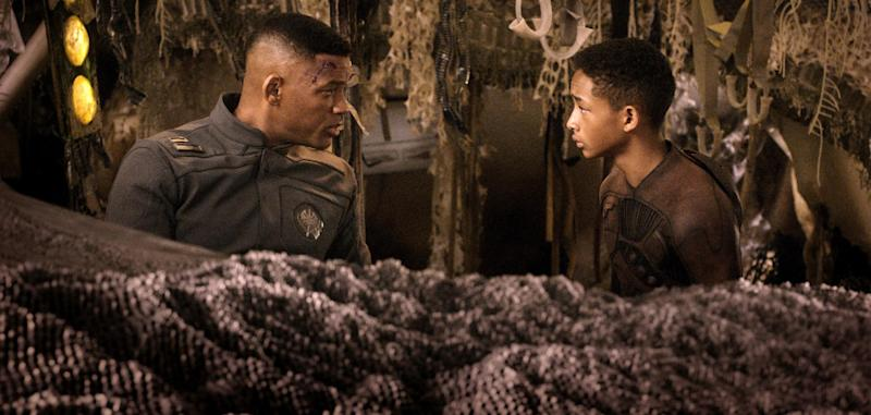 """This film publicity image released by Sony - Columbia Pictures shows Will Smith, left, and Jaden Smith in a scene from """"After Earth."""" (AP Photo/Sony, Columbia Pictures)"""