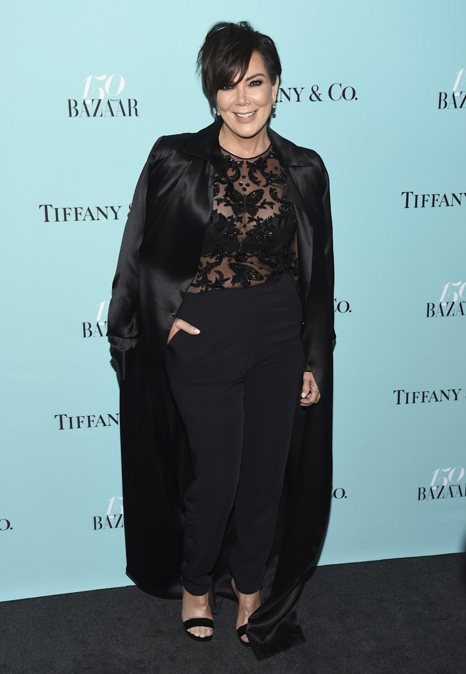 <p>Kris accompanied her model daughter wearing a lacy black top and trousers.<br> (Photo: AP) </p>