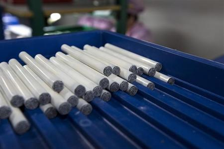 Electronic cigarettes are pictured at a production line in a factory in Shenzhen