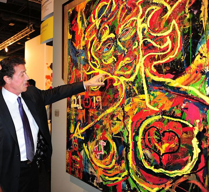 Sylvester Stallone attends Art Basel in 2009, where he exhibited his paintings.