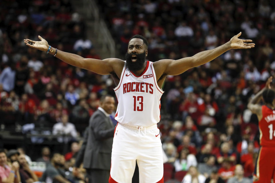 James Harden's beard protected him after he angrily slammed a basketball and it rebounded directly into his face. (Photo by Tim Warner/Getty Images)