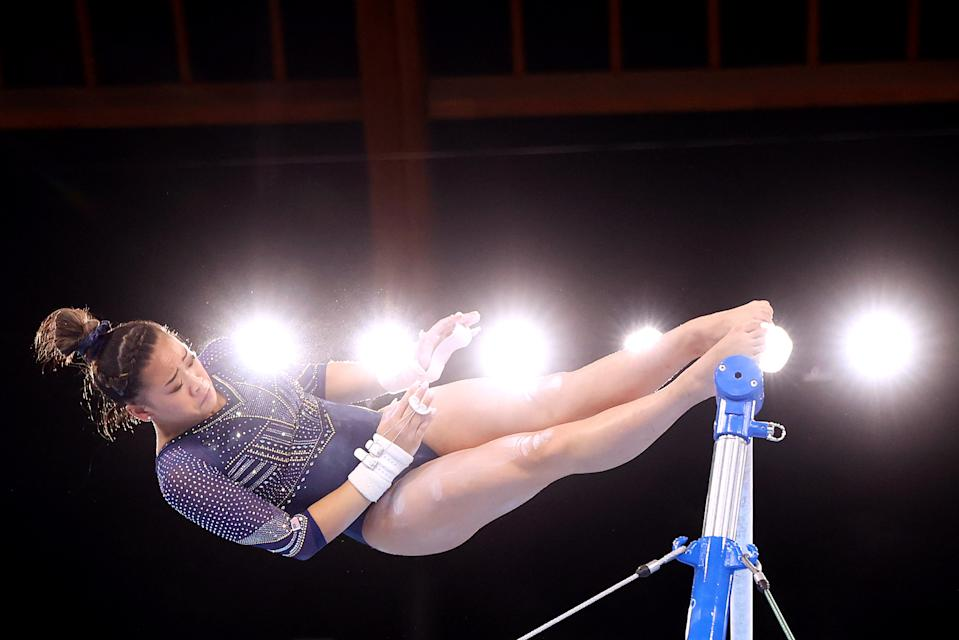 <p>TOKYO, JAPAN - AUGUST 01: Sunisa Lee of Team United States competes in the Women's Uneven Bars Final on day nine of the Tokyo 2020 Olympic Games at Ariake Gymnastics Centre on August 01, 2021 in Tokyo, Japan. (Photo by Laurence Griffiths/Getty Images)</p>