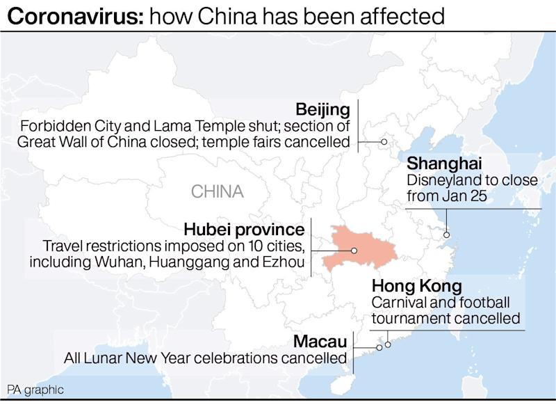 Coronavirus: how China has been affected. See story HEALTH Coronavirus. Infographic PA Graphics