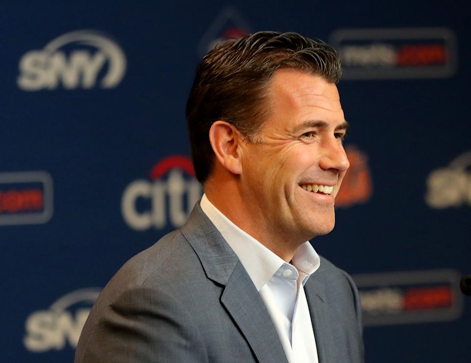 NEW YORK, NEW YORK - MAY 20:  New York Mets general manager Brodie Van Wagenen answers questions during a press conference before the game between the New York Mets and the Washington Nationals at Citi Field on May 20, 2019 in the Flushing neighborhood of the Queens borough of New York City. (Photo by Elsa/Getty Images)