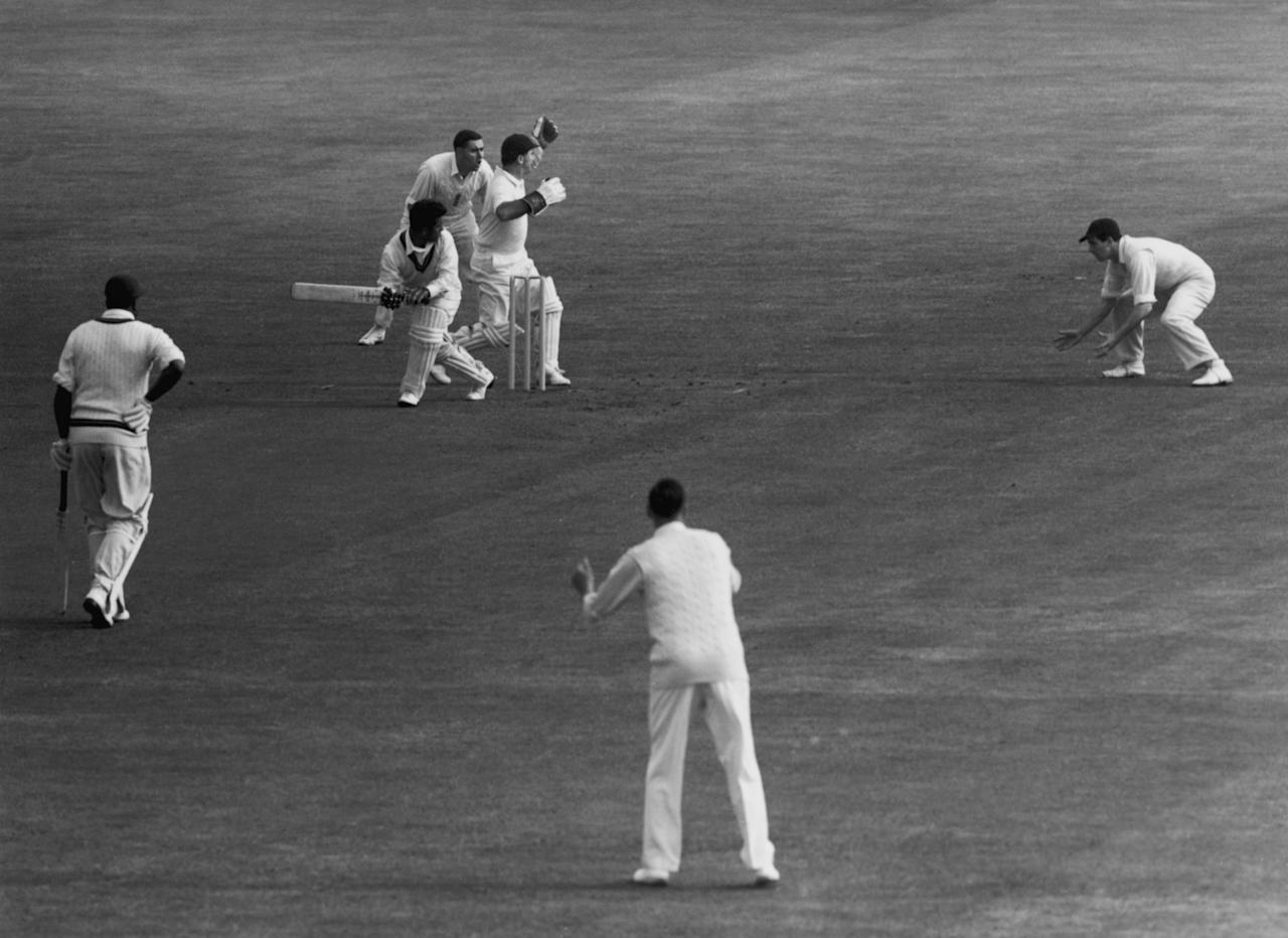 West Indies cricketer Rohan Kanhai batting during a test match against England at Edgbaston, Birmingham, June 1957. (Photo by Central Press/Hulton Archive/Getty Images)