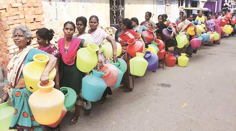 Water crisis, Chennai water crisis, Chennai water shortage, bad monsoons, drought, groundwater level, Indian Express