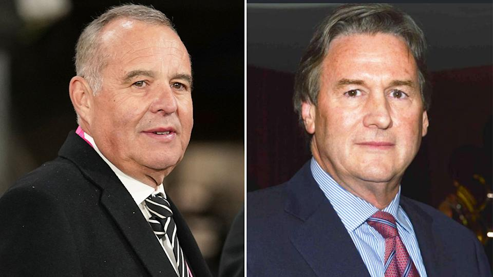 Pictured left, Collingwood president Mark Korda and businessman Jeff Browne on the right.