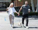 <p>Brian Austin Green and girlfriend Sharma Burgess stop for coffee with their pup in Malibu on June 9.</p>