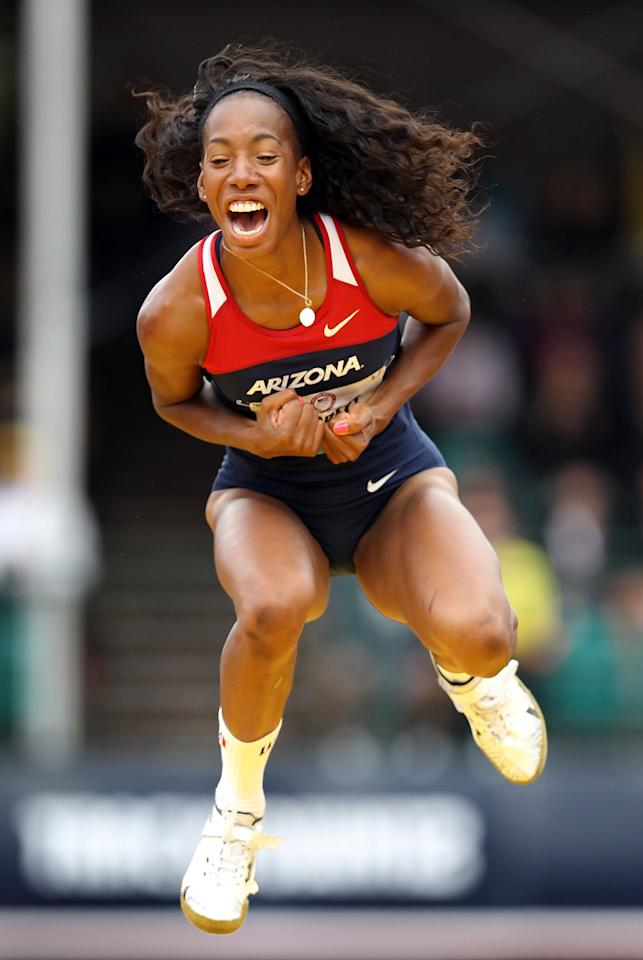 EUGENE, OR - JUNE 30:  Brigetta Barrett celebrates as she competes in the Women's High Jump Final on day nine of the U.S. Olympic Track & Field Team Trials at the Hayward Field on June 30, 2012 in Eugene, Oregon.  (Photo by Christian Petersen/Getty Images)