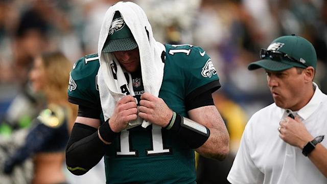 Carson Wentz is done for the year. (Getty)