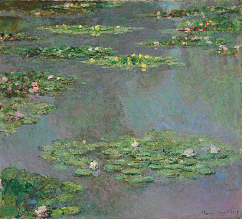 "This image provided by Christie's Images, Ltd, in New York, Friday Nov. 9, 2012, shows a work from Claude Monet's ""Water Lilies"" series. The painting is from the estate of Ethel Strong Allen, widow of Wall Street executive Herbert Allen Sr., that she bequeathed to a suburban boarding school, was sold Wednesday for more than $43-million at Christie's Evening Sale of Impressionist & Modern Art. (AP Photo/Christie's Images Ltd., 2012)"