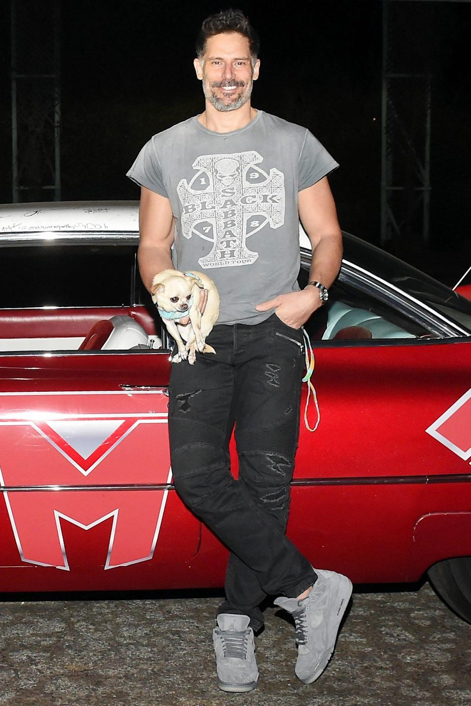 <p>Joe Manganiello brings his chihuahua Bubbles along to the <i>Archenemy</i> film screening on Wednesday at Beyond Fest in Montclair, California. </p>