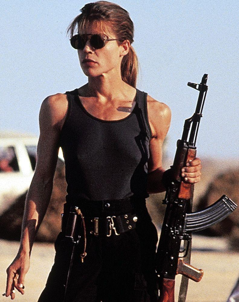 <p>The transformation Linda Hamilton's character makes between the first and second <em>Terminator</em> films is enough to make her the biggest badass in the series. She started as a confused and frightened woman on the run and became a pint-sized wrecking ball who won't let anything stop her from preventing the apocalypse.</p>