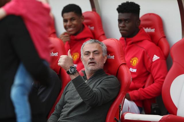 Manchester United's manager Jose Mourinho gestures as he sits in the dugout ahead of the English Premier League football match between Sunderland and Manchester United at the Stadium of Light in Sunderland, north-east England on April 9, 2017 (AFP Photo/Scott Heppell)