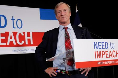 Billionaire donor and liberal activist Tom Steyer during a news conference in Des Moines Iowa