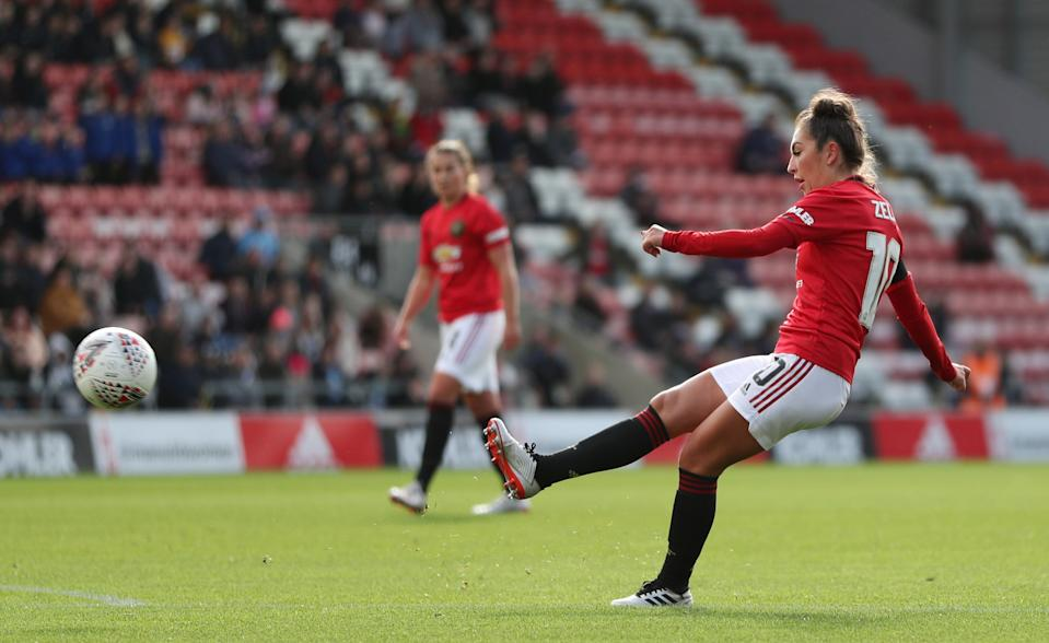 Manchester United's Katie Zelem in action. Credit: Action Images via Reuters/Molly Darlington.
