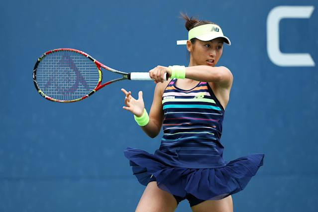 <p>Misaki Doi of Japan returns a shot to Barbora Strycova of Czech Republic during their first round Women's Singles match on Day Two of the 2017 US Open at the USTA Billie Jean King National Tennis Center on August 29, 2017 in the Flushing neighborhood of the Queens borough of New York City. (Photo by Al Bello/Getty Images) </p>
