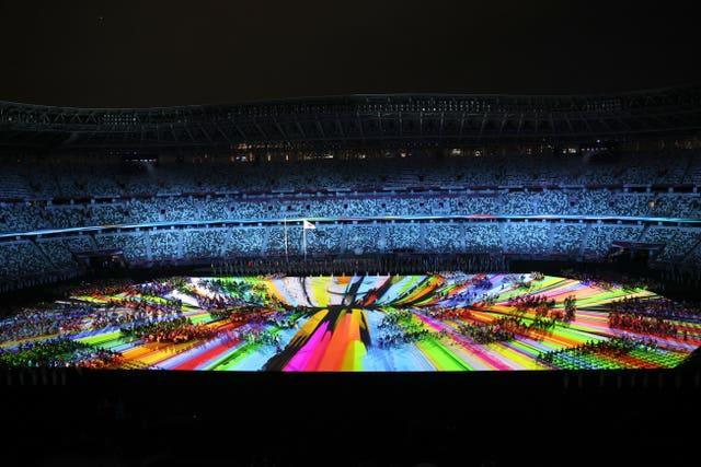 Athletes during the opening ceremony of the Tokyo 2020 Paralympic Games