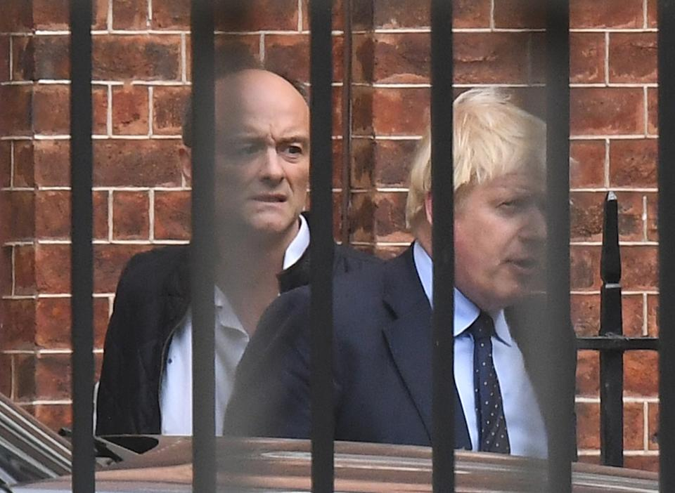 File photo dated 03/09/19 of Prime Minister Boris Johnson with his then senior aide Dominic Cummings, who has resigned from his Downing Street role, following director of communications Lee Cain. Both will continue to work for the Prime Minister and Downing Street until mid-December. December 13th 2020 marks the first anniversary of Mr Johnson's General Election win.