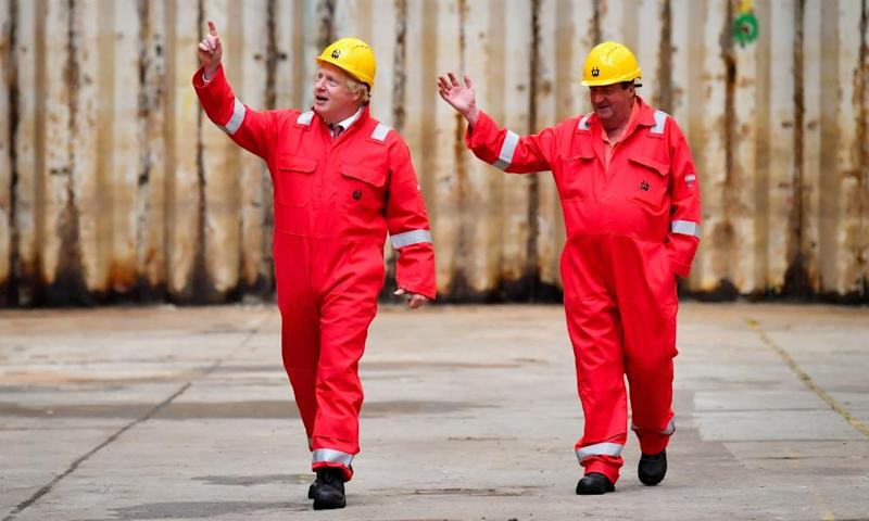 Boris Johnson with caretaker Clifford Edwards both in red at the renaming of the Appledore yard.