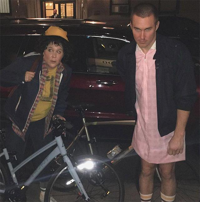 "<p>The comedian and her boyfriend at the time, Ben Hanisch, totally nailed their <i>Stranger Things</i>-inspired costumes. They even rode around NYC on bikes! ""Stranger things #happyhalloween from Eleven and Dustin!"" wrote Schumer. (Photo: <a href=""https://www.instagram.com/p/BMKlfxIjo8P/"" rel=""nofollow noopener"" target=""_blank"" data-ylk=""slk:Instagram"" class=""link rapid-noclick-resp"">Instagram</a>) </p>"