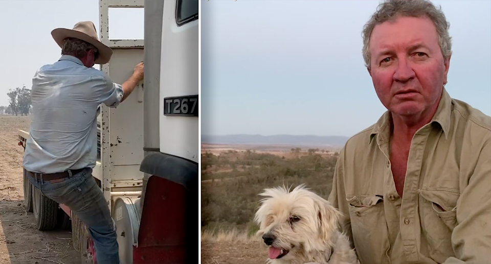 Tamworth farmer Mark Walters and his dog Occy during the drought in December, 2019. Source: Michael Dahlstrom