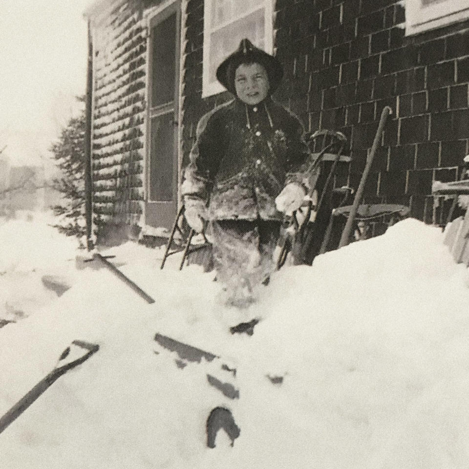 This March 1956 photo provided by Louis Uccellini shows him as a child standing in the snow in the Bethpage neighborhood of Long Island, N.Y. Uccellini, who has been the director of the National Weather Service for more than eight years, says he will retire at the end of 2021. (Courtesy Louis Uccellini via AP)