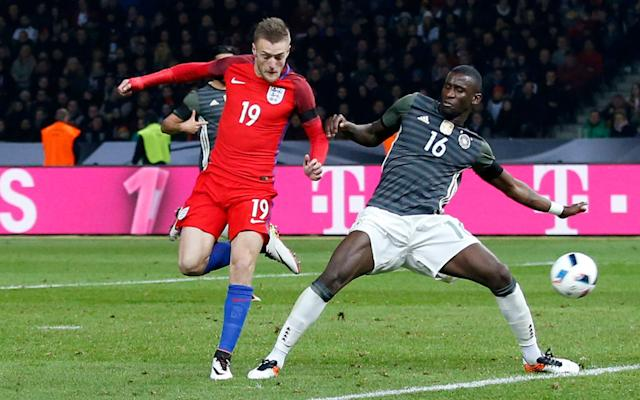 <span>Vardy scored with a wonderful flick against Germany last year</span> <span>Credit: Reuters </span>