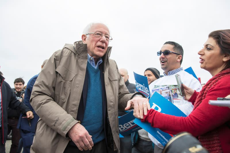 U.S. Democratic presidential candidate Bernie Sanders greets supporters outside of a polling station in Dearborn Heights, Michigan