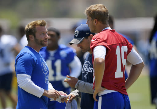 FILE - In this June 5, 2017, file photo, Los Angeles Rams coach Sean McVay, left, talks with quarterback Jared Goff, right, as offensive coordinator Matt LaFleur stands between them during NFL football practice in Thousand Oaks, Calif. Green Bay Packers coach LaFleur and Rams coach McVay say their friendship and shared history shouldnt have much of an impact on their teams upcoming NFC divisional playoff matchup. (AP Photo/Mark J. Terrill, File)