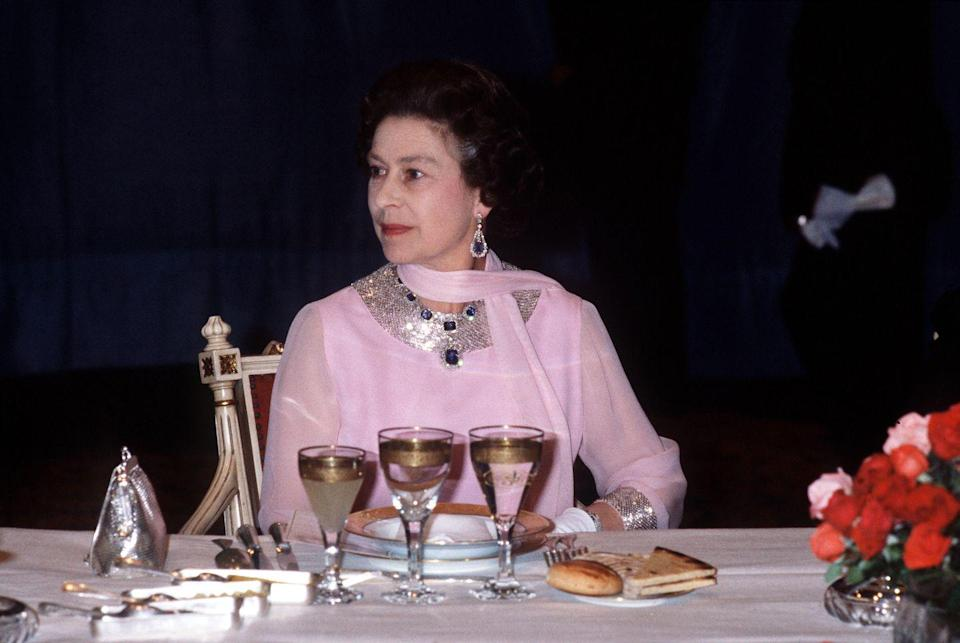 <p>The George VI Sapphires are undoubtedly among Queen Elizabeth's most meaningful jewels. The demi-parure, which consists of a Victorian-era necklace and earrings, was a wedding gift from her father in 1947. A few years later, the Queen refashioned the necklace, shortening it and removing the largest sapphire stone to turn into a pendant (as seen here). Sometime during the '60s, she also commissioned a matching bracelet to accompany the set.</p>