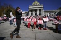 People demonstrate outside the Pennsylvania State Capitol, Friday, Nov. 6, 2020, in Harrisburg, Pa., as vote counting continues following Tuesday's election. (AP Photo/Julio Cortez)