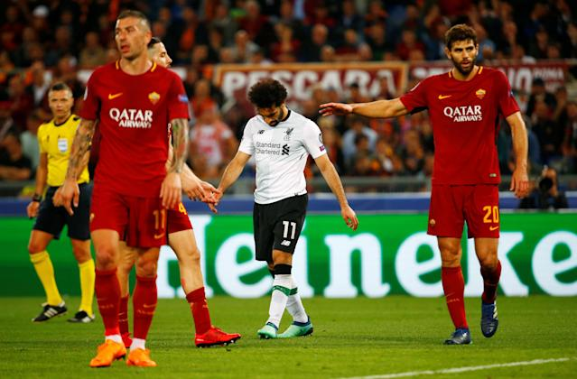 Soccer Football - Champions League Semi Final Second Leg - AS Roma v Liverpool - Stadio Olimpico, Rome, Italy - May 2, 2018 Liverpool's Mohamed Salah reacts as Roma's Federico Fazio looks on REUTERS/Tony Gentile