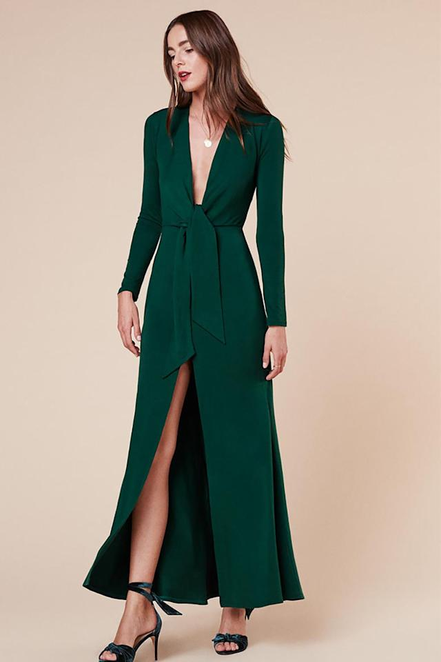 "<p>Nice enough that you can do practically nothing with hair and makeup and it will still look like you tried.</p><p><strong>Aria Dress, $148; <a rel=""nofollow"" href=""https://www.thereformation.com/products/aria-dress-emerald"">thereformation.com</a>.</strong></p>"