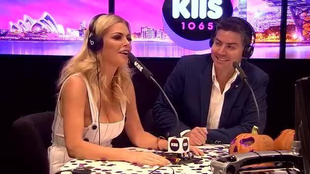 Stu Laundy and Sophie Monk appeared on the radio on KIIS FM's Kyle & Jackie O, again wearing his favourite blue jacket. Source: Supplied