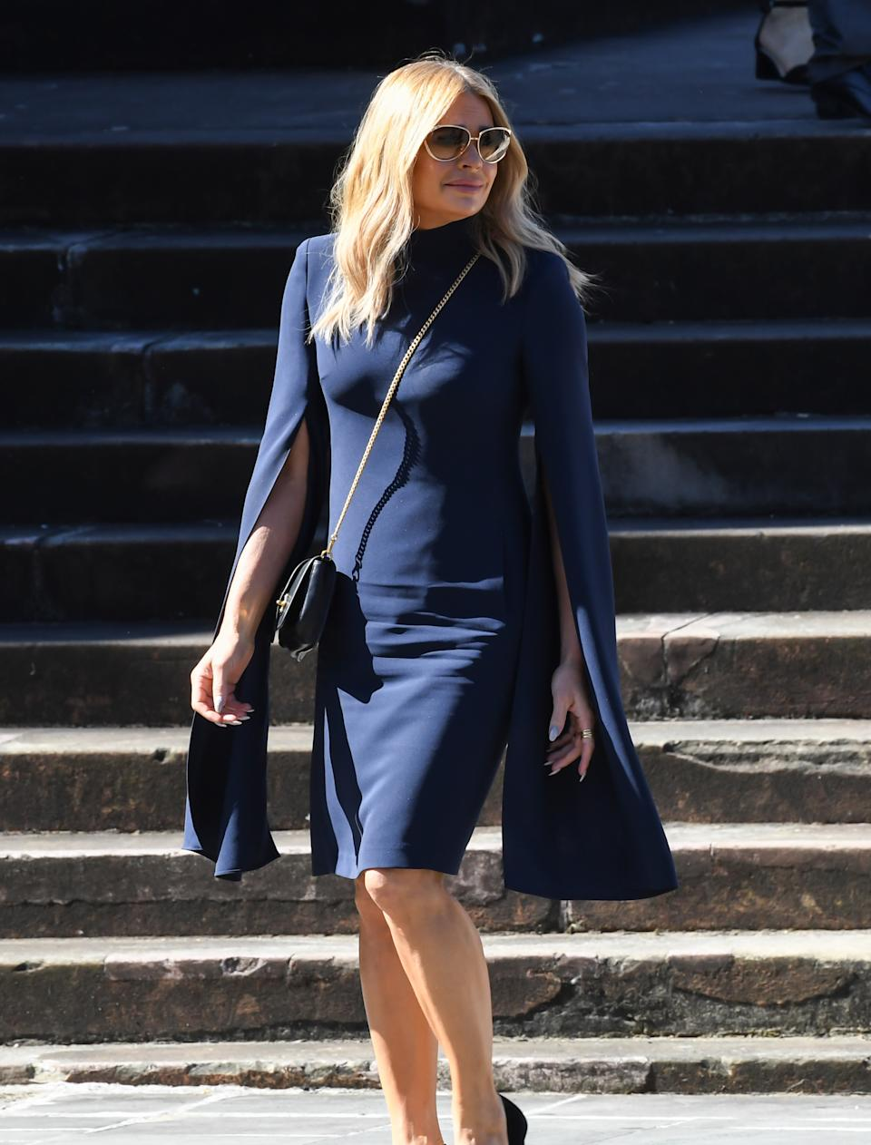 Sonia Kruger watches as the hearse departs at the State Funeral for Carla Zampatti at St Mary's Cathedral on April 15, 2021 in Sydney, Australia.