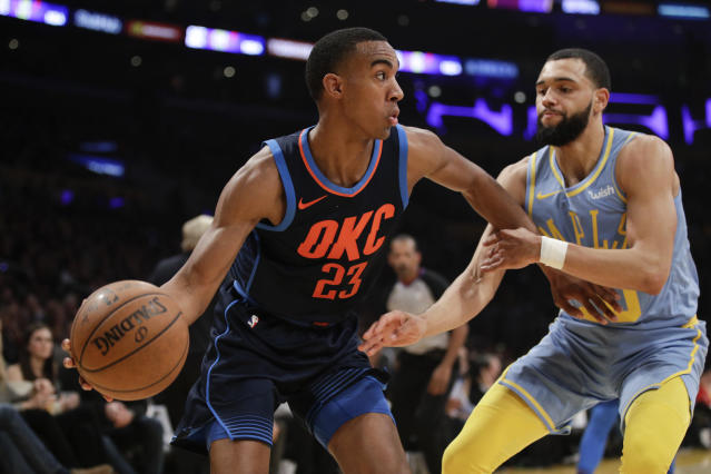 Thunder rookie Terrance Ferguson had a breakout game against the Lakers on Wednesday.  (AP)